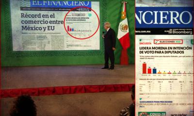 El presidente, muestra la primera plana de El Financiero pero CASUAL, también hay una encuesta pro Morena ¿Accidente o maña?
